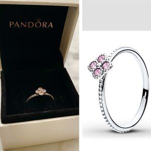 PANDORA Pink Oriental Blossom Ring SIZE 5